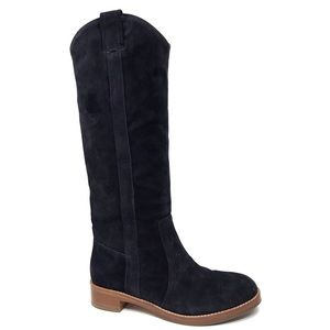 VIA SPIGA Gianna Blue Suede Tall Boots 6.5